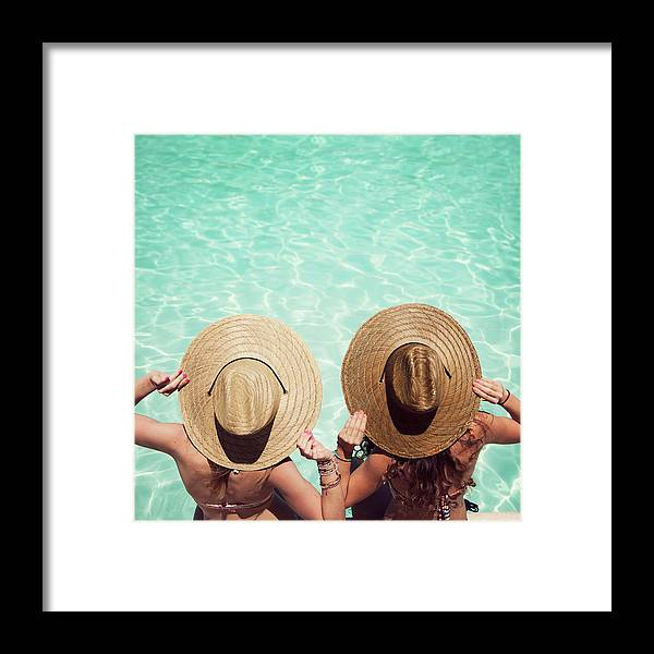 Fedora Framed Print featuring the photograph Friends By The Pool by Becon