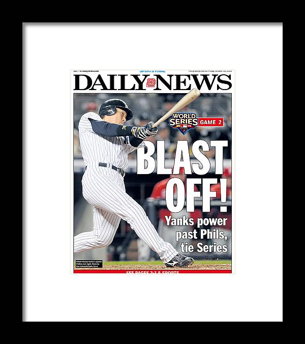American League Baseball Framed Print featuring the photograph Front Page Of The Daily News From by New York Daily News Archive