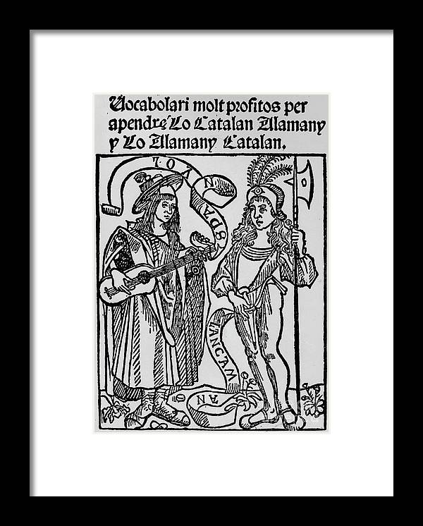 Catalonia Framed Print featuring the drawing Frontispiece To A Catalan-german by Print Collector