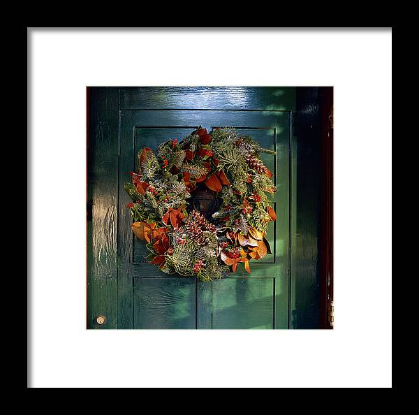 Frost Covered Christmas Wreath On Door Framed Print By Richard Felber