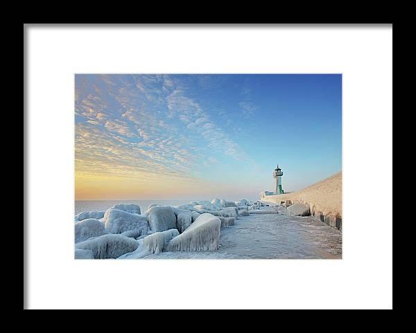 Dawn Framed Print featuring the photograph Frozen Lighthouse by Sandra Kreuzinger