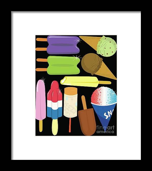 Mint Ice Cream Framed Print featuring the digital art Frozen Treats by Rangepuppies
