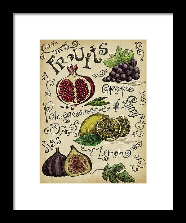 Doodle Framed Print featuring the digital art Fruits by Kalistratova