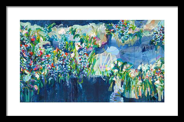 Abstract Framed Print featuring the painting Full Bloom by Claire Desjardins
