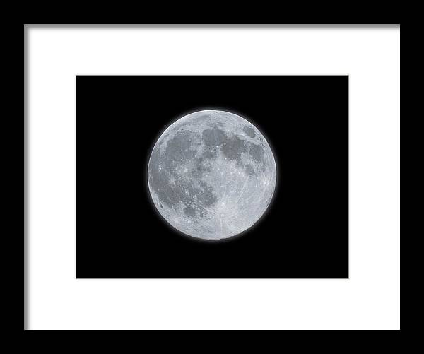 Sky Framed Print featuring the photograph Full Moon With Glow by Banksphotos