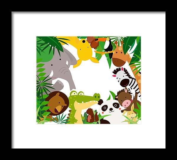 Forest Framed Print featuring the digital art Fun Jungle Animals Border by Suerz