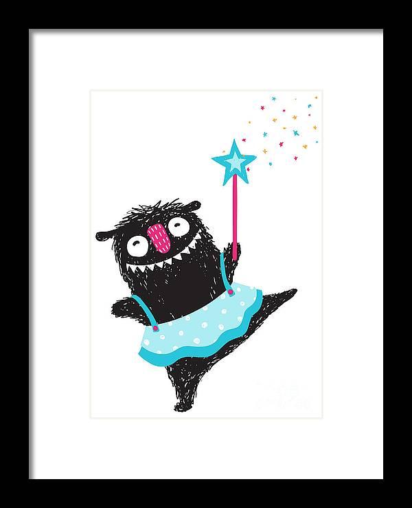 Magic Framed Print featuring the digital art Fun Monster Dancing Princess Humorous by Popmarleo
