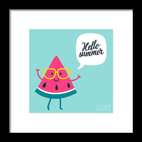 Typography Framed Print featuring the digital art Funny Vector Background With Watermelon by Beskova Ekaterina