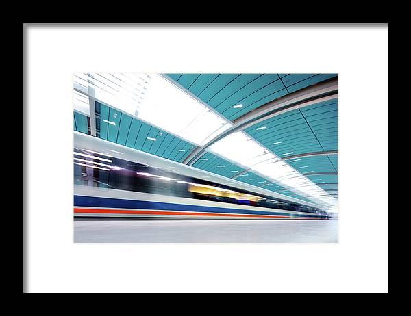 Aerodynamic Framed Print featuring the photograph Futuristic Train by Nikada