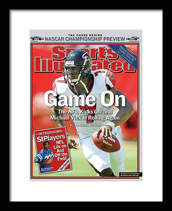 Magazine Cover Framed Print featuring the photograph Game On The Nfl Kicks Off And Michael Vick Is Rolling Again Sports Illustrated Cover by Sports Illustrated