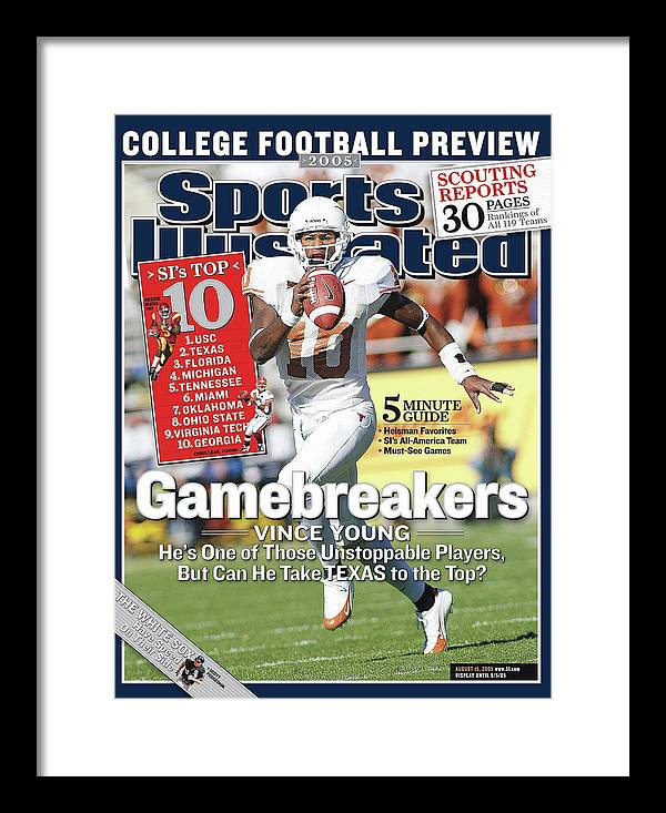 Vince Young Framed Print featuring the photograph Gamebreakers Vince Young, Hes One Of Those Unstoppable Sports Illustrated Cover by Sports Illustrated