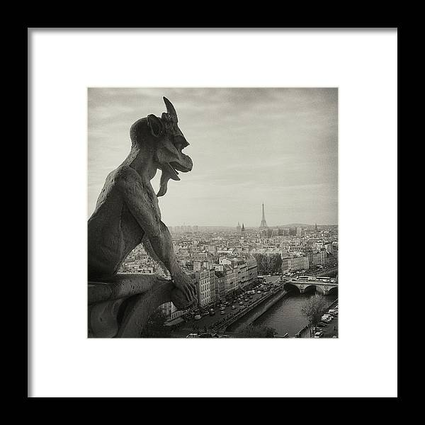 Eiffel Tower Framed Print featuring the photograph Gargoyle Of Notre Dame by Zeb Andrews