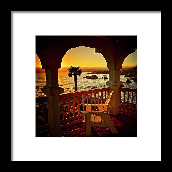 Nature Framed Print featuring the photograph Gazebo View of Central California Coast by Zayne Diamond Photographic