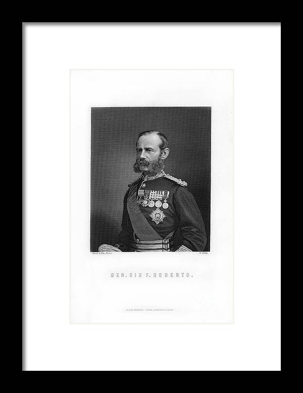 Engraving Framed Print featuring the drawing General Sir Frederick Roberts by Print Collector