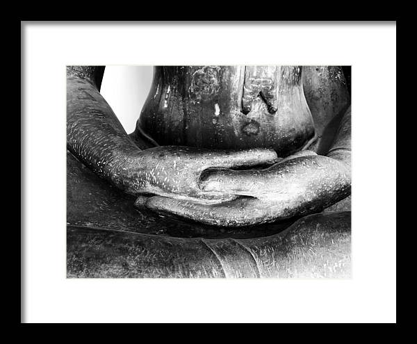 Buddha Framed Print featuring the photograph Gentle Buddha Hands by Georgia Fowler