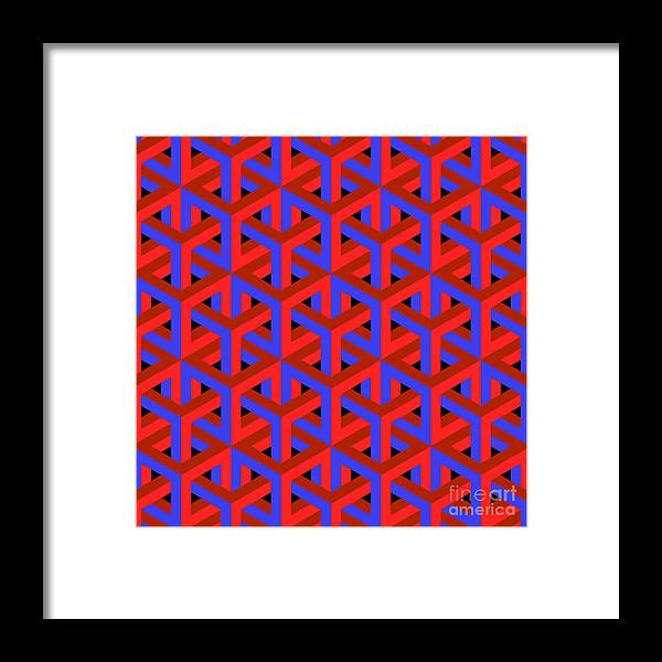 Dimensional Framed Print featuring the digital art Geometric Optical Art Background In Red by Jkerrigan
