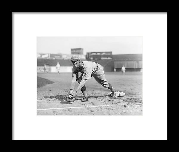 First Baseman Framed Print featuring the photograph George Sisler Catching Ball @ Base by Bettmann