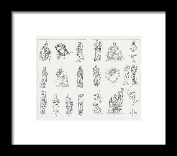 Antonio Pisano Pisanello Framed Print featuring the digital art German And Italian Sculptures by Zu 09