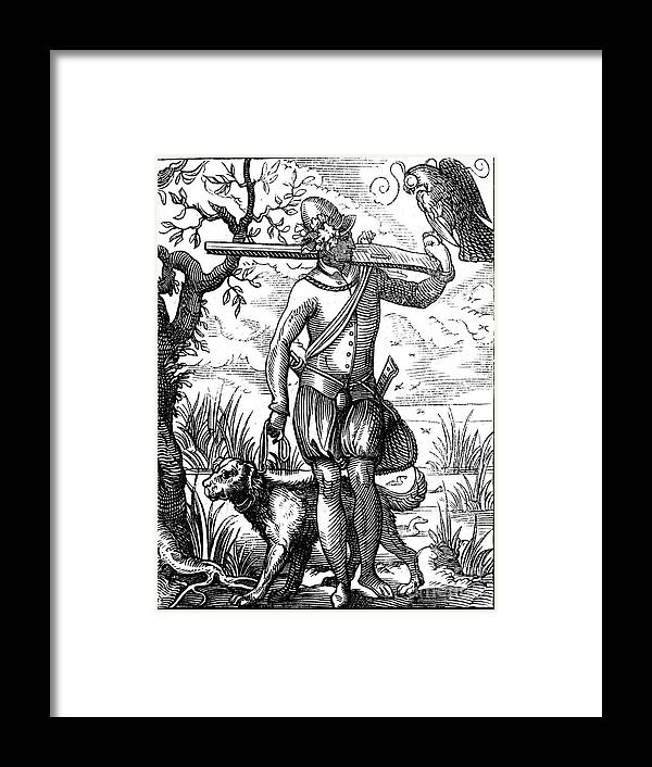 Engraving Framed Print featuring the drawing German Falconer, 16th Century by Print Collector