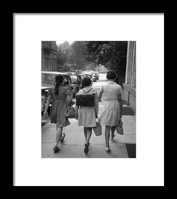 Baden-baden Framed Print featuring the photograph German Schoolgirls by Erich Auerbach
