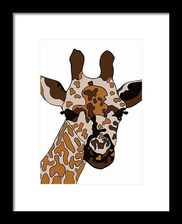 Giraffe Art Framed Print featuring the digital art Giraffe by Karen Elzinga