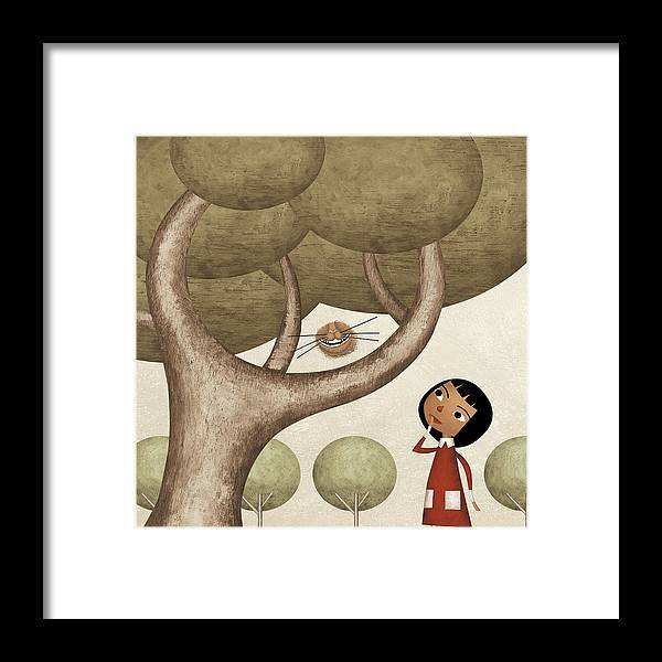 Three Quarter Length Framed Print featuring the photograph Girl And The Cats Smile by Carlos Cubeiro