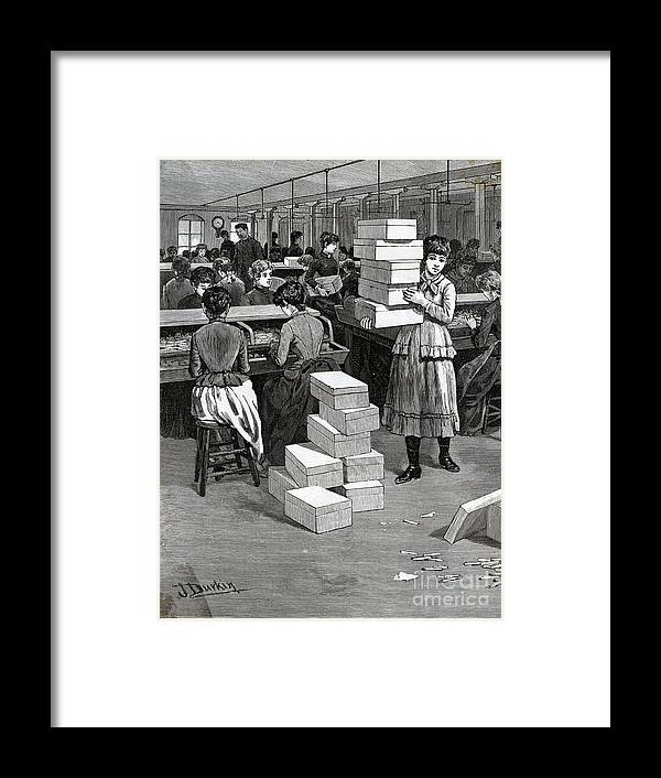 Working Framed Print featuring the photograph Girl Carrying Boxes Cigarette Factory by Bettmann