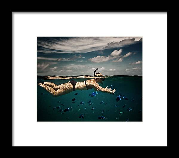 People Framed Print featuring the photograph Girl Snorkelling In Indian Ocean by Rjw