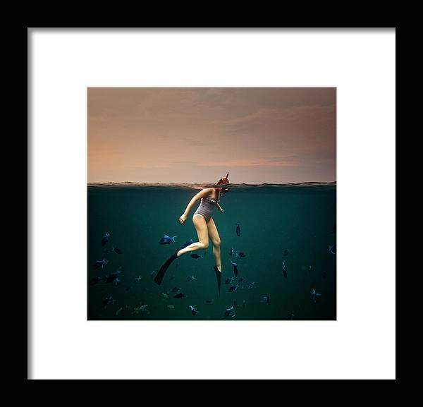 People Framed Print featuring the photograph Girl Snorkelling by Rjw