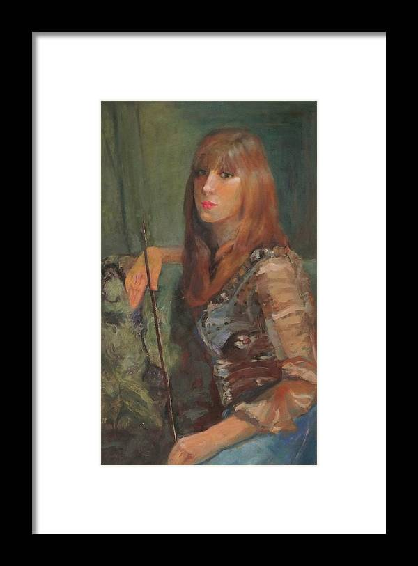Girl Framed Print featuring the painting Girl With Bow by Irena Jablonski