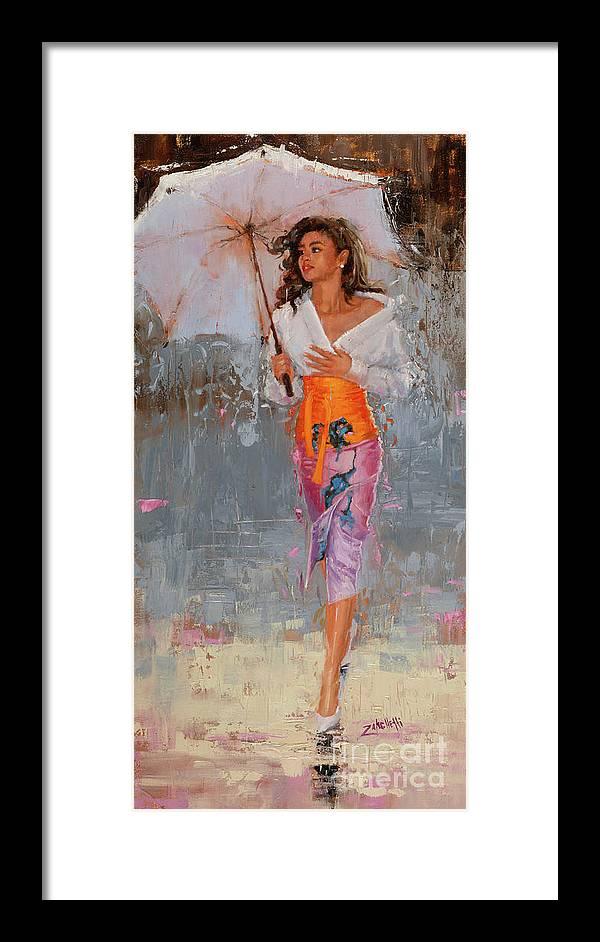 Rain Framed Print featuring the painting Glisten by Laura Lee Zanghetti