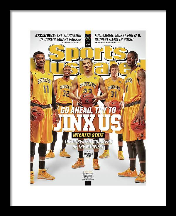 Magazine Cover Framed Print featuring the photograph Go Ahead, Try To Jinx Us. Wichita State The Unbeaten Sports Illustrated Cover by Sports Illustrated