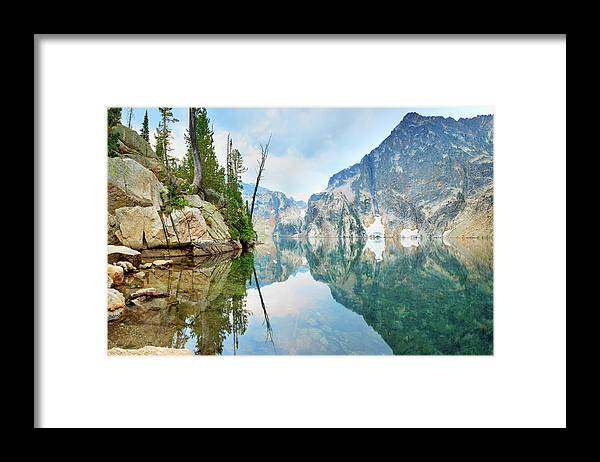 Tranquility Framed Print featuring the photograph Goat Lake On Cloudy Day In Sawtooth by Anna Gorin