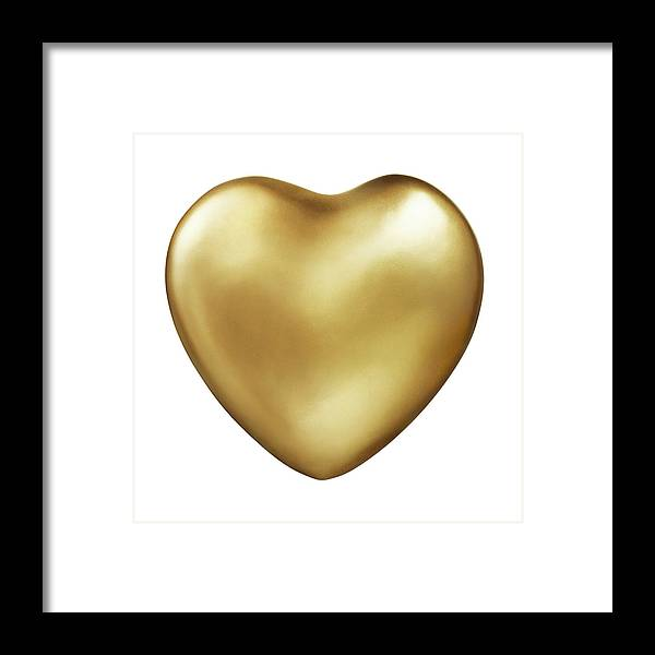 White Background Framed Print featuring the photograph Gold Heart by Lauren Nicole