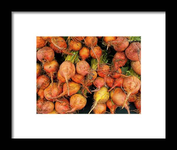 Orange Color Framed Print featuring the photograph Golden Beets At A Farmers Market by Bill Boch