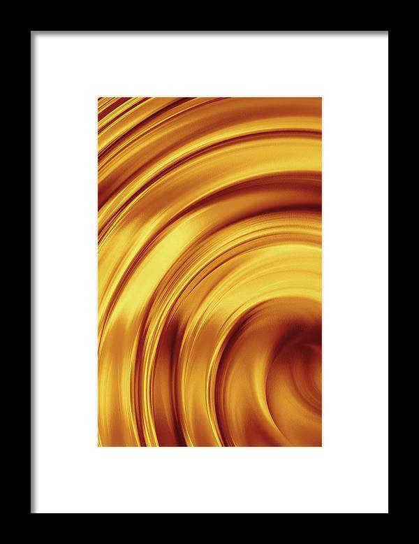 Brass Framed Print featuring the photograph Golden Brass Swirl by Emrah Turudu