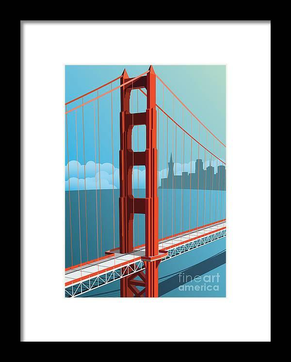 Francisco Framed Print featuring the digital art Golden Gate Bridge by Nikola Knezevic