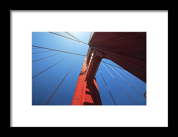 San Francisco Framed Print featuring the photograph Golden Gate Bridge Tower by Mortonphotographic