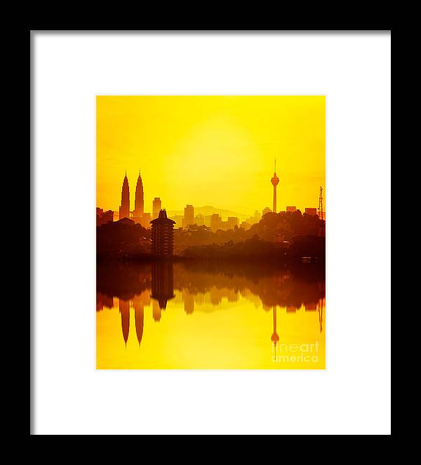 Sunrise Framed Print featuring the photograph Golden Hour At Kuala Lumpur by Nelzajamal