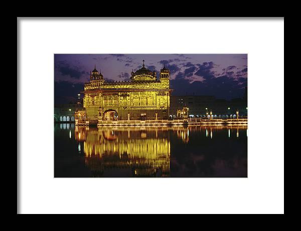 Golden Temple Framed Print featuring the photograph Golden Temple Harmandir Sahib On by Richard I'anson