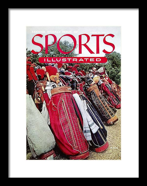 Magazine Cover Framed Print featuring the photograph Golf Bags, 1954 Masters Tournament Sports Illustrated Cover by Sports Illustrated