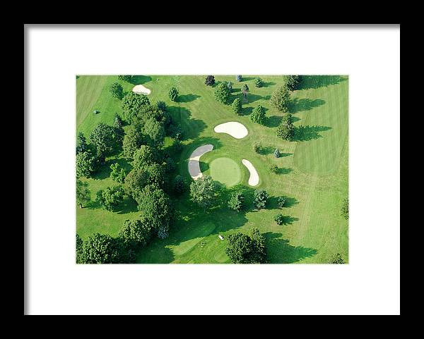 Sand Trap Framed Print featuring the photograph Golf Course Close Up From The Air by Groveb