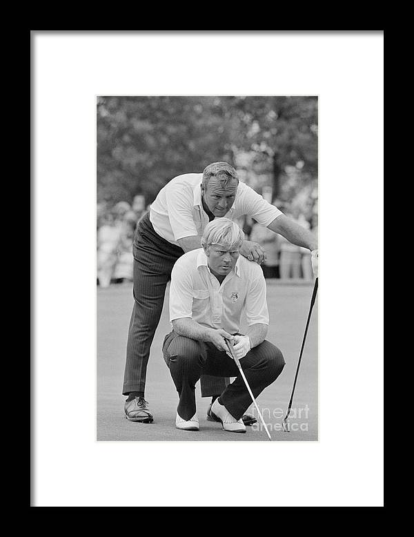 Playoffs Framed Print featuring the photograph Golf Professionals Nicklaus And Palmer by Bettmann