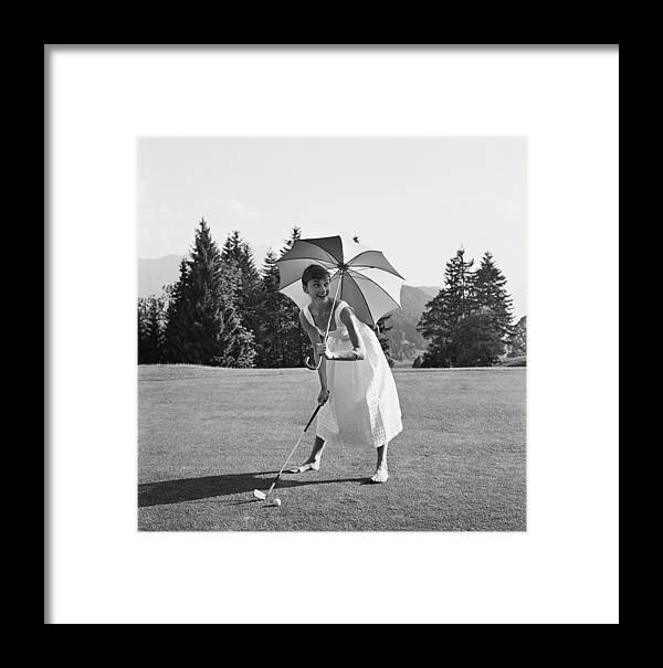 Belgium Framed Print featuring the photograph Golfing Hepburn by Hulton Archive