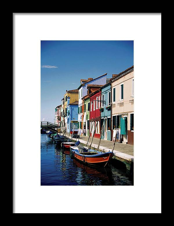 Row House Framed Print featuring the photograph Gondolas In A Canal, Burano, Venice by Medioimages/photodisc