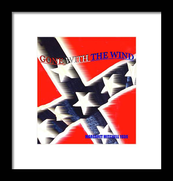 Gone With The Wind By Margaret Mitchell Framed Print featuring the mixed media Gone With The Wind Minimalism Book Cover Art by David Lee Thompson