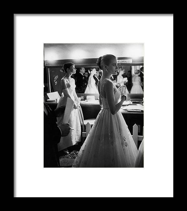 Timeincown Framed Print featuring the photograph Grace Kellyaudrey Hepburn by Allan Grant