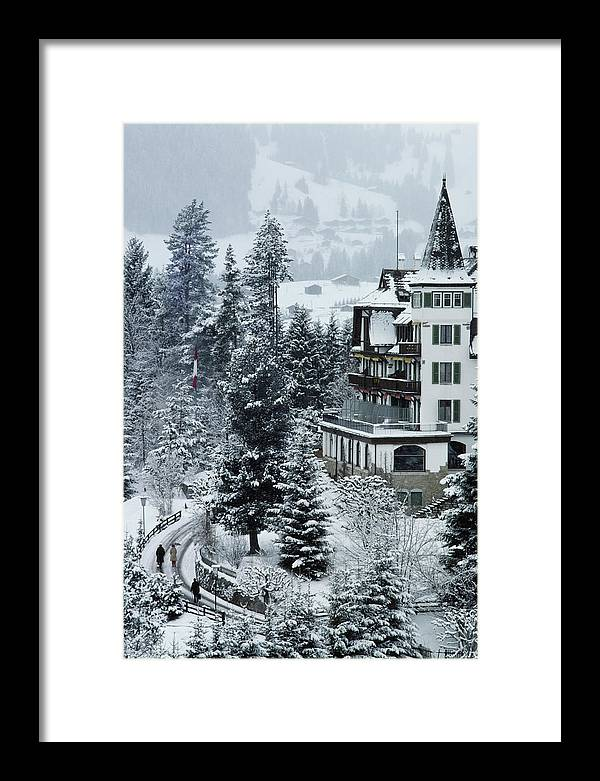 Gstaad Framed Print featuring the photograph Grand Hotel Alpina by Slim Aarons