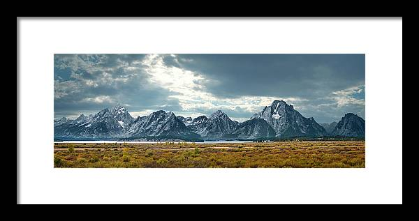 Scenics Framed Print featuring the photograph Grand Tetons In Dramatic Light by Ed Freeman
