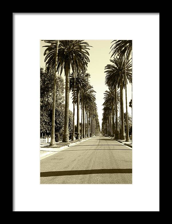1950-1959 Framed Print featuring the photograph Grayscale Image Of Beverly Hills by Marcomarchi
